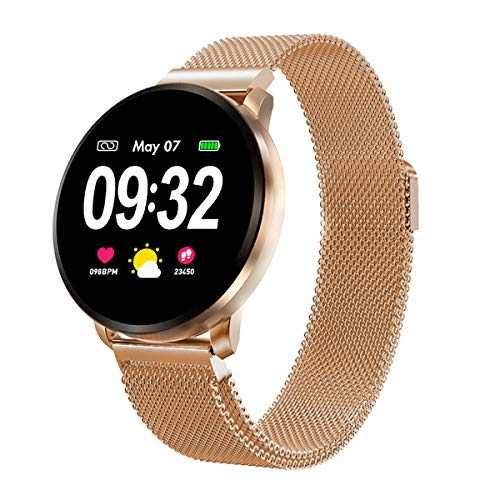 Smartwatch Damen Herren Fitness Armbanduhr mit Full-Touchscreen GOKOO Wasserdicht IP67 Fitness Tracker Aktivitätstracker Pulsuhren blutdruck uhr mit Kalorienzähler Schlafmonitor für Android IOS (Gold)