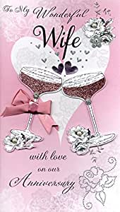 Second Nature-Biglietto d'auguri sfarzoso per Champagne e fiori, in confezione regalo, per anniversario, per moglie