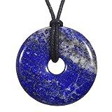 Morella Collar para Mujer 80 cm y Colgante de Gema en Forma de Donut Lapislázuli en Bolsa de Terciopelo