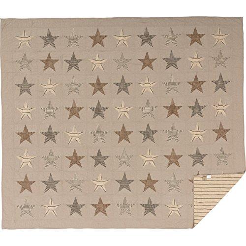 VHC Brands Farmhouse Bedding Sawyer Mill Star Charcoal Steppdecke, King Size, Hellbraun -