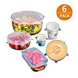 Y-ouni Tapas de silicona elásticas, cubiertas de silicona extensible para proteger los alimentos, set de 6 unidades en varios tamaños.