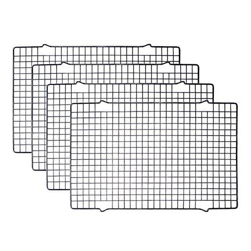 Tebery 4 Stück Edelstahl-Grillrost & Auskühlgitter, passt auf Backbleche für das Backen von Keksen und Kuchen, Räuchern, Grillen, Auskühlen - Rost- Resistent & Ofenfest 40,6 x 25,4 cm -