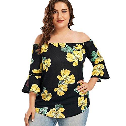 Overdose Plus Size Frauen Blumendruck Spitze Schulterfrei Flare Sleeve Damen T-Shirt Sommer Tops Bluse Shirt Oberteil(Schwarz,4XL)