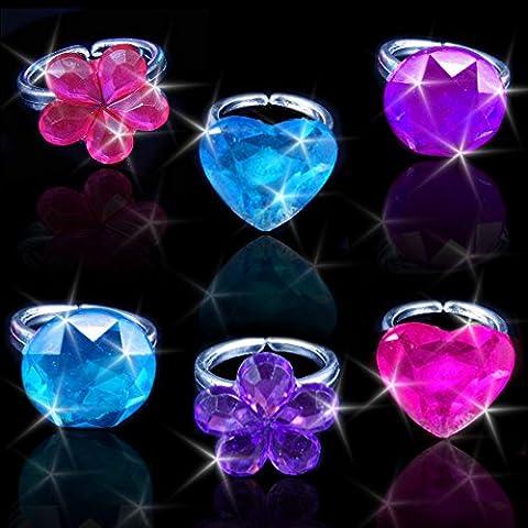 German Trendseller® - 24 x anneaux scintillante┃en optique pierre de lune┃mélange de couleurs┃ l'anniversaire d'enfants┃ petit cadeau