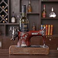 ZSY Home Vintage Máquina Coser Modelo Wine Rack Resina Escultura Obra Arte Decoración del Hogar -
