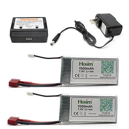 Hosim 2pcs 7.4V 1500mAh 15C T Plug Batterie Li-Polymère et 1pcs Balance Chargeur, Safe & Fast Charge, Meilleur pour RC Evader BX Voiture RC Camion RC Truggy RC Avion UAV Drone FPV