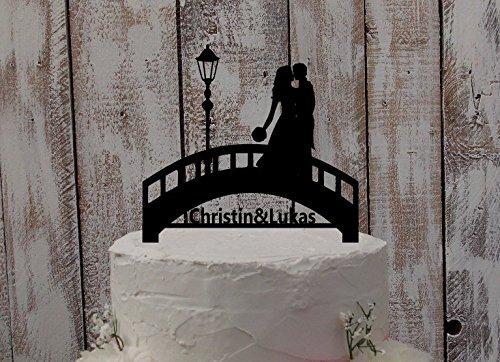 Brücke Tortenaufsatz, Custom Hochzeit Kuchen Topper mit Namen, Hochzeit Tortenaufsatz, Paar Topper Silhouette Tortenaufsatz (Brücke Kuchen)
