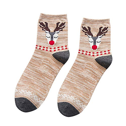 TUDUZ Damen Sneaker Socken, Damen/Herren Socken Arbeit Weihnachten Elch-Druck Baumwollsocke