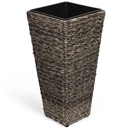 Park alley vaso per fiori in plastica effetto vimini - fioriera per esterni ed interni - arredo moderno ed elegamente per giardino, terrazza o salotto - grigio