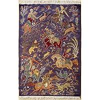 RugsTC 97 x 157 Pak Persan Tapis avec Pile de Soie et Laine - Design Pictorial Hunting Shikargah Six Horses | 100% Noué à la Main Authentique en Violet, Beige, Couleurs Gris | catégorie 91 x 152