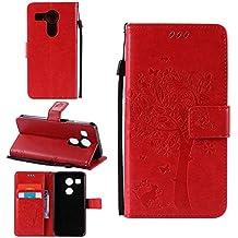 Funda Libro para LG Nexus 5X, Ycloud PU Leather Cuero Con Flip Cover Cierre Magnético Función de Soporte Billetera Case con Tapa para Tarjetas Gato Árbol Mariposa Rojo