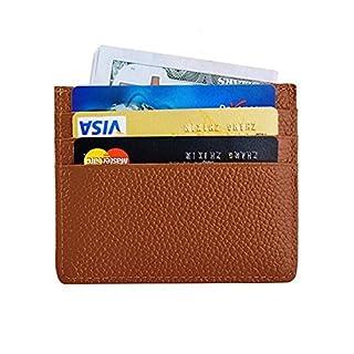 AgentX Genuine Leather Credit Card Case Money Wallet Black Brown - Brown -