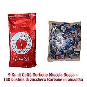 JSD 9 BUSTE CONFEZIONE DA 1 KG DI CAFFE' BORBONE IN GRANI MISCELA ROSSA VENDING ORIGINALE + 150 BUSTINE DI ZUCCHERO BORBONE IN OMAGGIO