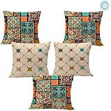 STITCHNEST Ethnic Square Printed Canvas Cotton Cushion Covers (16 x 16 Inches, Multicolour) - Set of 5