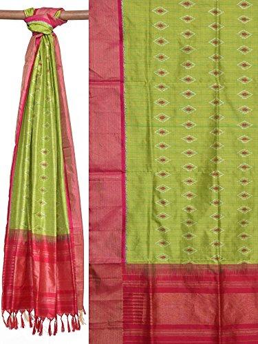 Green Pochampally Ikat Silk Handloom Dupatta