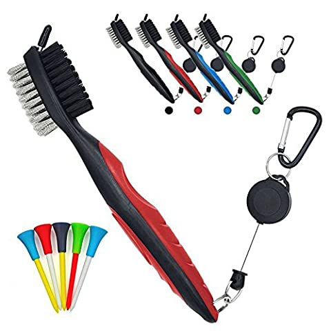 PILAAIDOU Golf Club Groove Cleaning Brush - Spike Head Cleaner & Nylon and Iron Wire Dual Sided Bristles & Retractable Carabiner - Loop Clip (Carabiner) For Easy Hanging on the Golf Bag - Free of charge Golf base support5 sets