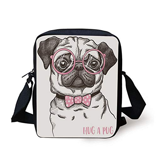 with Pink Bow Tie Oversized Glasses Hand Drawn Domesticated Decorative,Baby Pink White Dark Brown Print Kids Crossbody Messenger Bag Purse ()