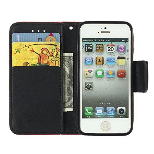iPhone 5S Coque, Voguecase Étui en cuir synthétique chic avec fonction support pratique pour Apple iPhone 5 5G 5S SE (Noir)de Gratuit stylet l'écran aléatoire universelle Rouge/Noir