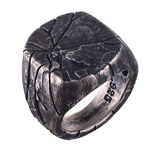 age Rinde Riss Ring Band Punk Style Square Fingerring Edelstahl Antik Silber Single Ring Größe 7-12 ()