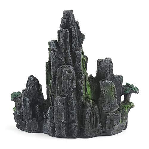 Aploa Stein Aquarium-Deko, Mountain View Aquarium Rockery versteckender Höhlen Baum Aquarium Verzierungs Dekoration Landschaft Ornament Aquarium Dekoration (B) (Echt Aussehende Aquarium Pflanze)