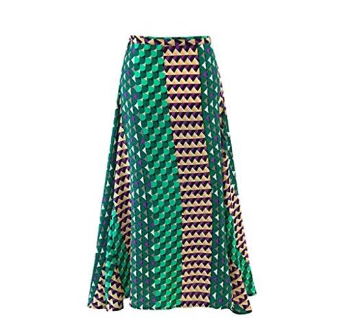 FEITONG Mujeres del verano forman impresa gasa de Boho de la falda de cuerpo entero largo maxi faldas (Verge)