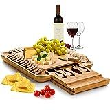 bambüsi por belmint 100% natural de bambú tabla de quesos y juego de cubiertos con cajón deslizante