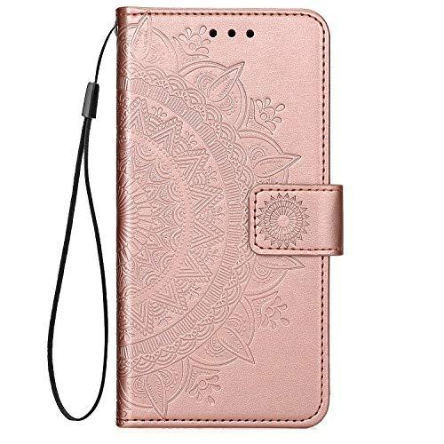 QPOLLY Kompatibel mit Samsung Galaxy J6 Plus Hülle PU Leder Tasche Brieftasche Handyhülle Totem Blumen Muster Ledertasche Flip Hülle Schutzhülle mit Ständer Kartenhalter für Galaxy J6 Plus,Rose gold