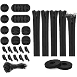 Motyy 127Pcs Cord Management Organizer Kit,Cable Sleeve with Zipper,Self Adhesive Cable Clip Holder,Roll Self Adhesive Tie,Et