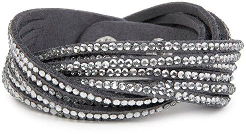 Strass Armband, eleganter Armschmuck mit Strassteinen, Wickelarmband, 6x1-Reihig, Damen 05040005, Farbe:Dunkelgrau/Klar ()