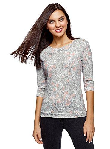 oodji Ultra Damen Bedrucktes Sweatshirt mit 3/4-Ärmeln, Weiß, DE 36 / EU 38 / S