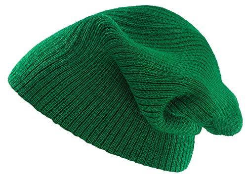 Sea Green-stripe (4sold lange Strickmütze, Oversize Beanie, damen, Plain Cap, Sea Green stripe, Einheitsgröße)