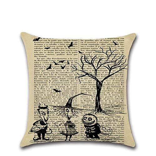 FANZAO Kissenbezug,45 * 45 cm Halloween Figur Themed Zeitung Karikaturen Bäume Pflanzen, Tierischen Fledermäuse Druckt Kissenbezug Kissen Fall Decken Kissen Schlafzimmer