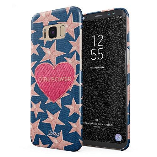 Glitbit Funda para Samsung Galaxy S8 Case Gril Power Girl Gang Boss Crybaby Feminist Feminism Patches Embroidered Heart Emoji, Funda Protectora de Plástico Duro y Duradero de Diseño Fino