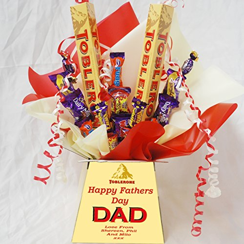 Toblerone Fathers Day Sweet Chocolate Bouquet With Personalised Bouquet Box