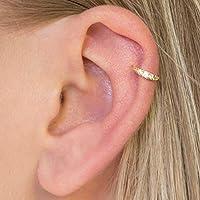 Diversa Piercing - Orecchino Donna Cartilagine Anello Orecchio Helix in Oro 18 Carati Bianco o Giallo con Zirconi