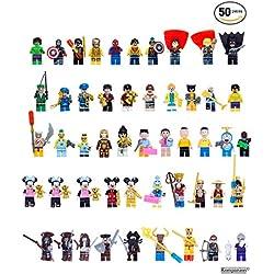 Set da 50 Pezzi di Mini Pupazzetti Lego, Direttamente dai tuoi Film di Supereroi Preferiti, Gioco Educativo, Ottimo per Compleanni e Feste, Lego compatibile