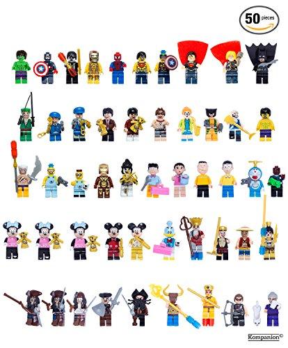 50 Mini Figuras de Superhéroes – Figuritas de Personajes de Acción – Accesorios de Fiesta - Juguete Infantil – Regalo de Cumpleaños para Amantes de Juego Lego – Compatible con LEGO