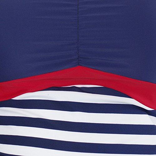 Herzmutter Umstands-Tankini-Schwangerschafts-Bademode, Zweiteiler-Badeanzug für Schwangere, Maritim-Streifen-Anker-Print-Tropical-Muster, Übergrößen, UV-Schutz 50 (7000)