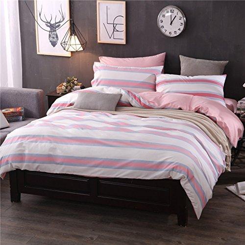 DACHUI Reine Baumwolle gestreift Streifen in Europa und in den Vereinigten Staaten wind Betten 4-Teiler Bettwäsche Bettbezug Kopfkissenbezug, Pflaume Gestreift, 220 x 240 cm
