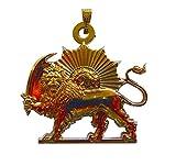 Herrliche Persien Löwe (Löwe und Sonne). Stahl Anhänger Goldton. Löwe und Schwert. Kette 60 cm verstellbar ist.