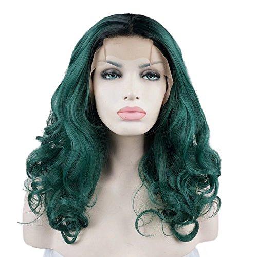 g Lolita Fashion Harajuku Cosplay Hair Full Lace Front Wig (Schwarz + Dunkelgrün) (Harajuku Perücke)