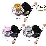 VALUE MAKERS® Pigmente/Glitzerpuder mit Chrom-Effekt für die Nägel, metallisches Finish, 3 verschiedene Farben inklusive Schwamm-Applikator, je 2g