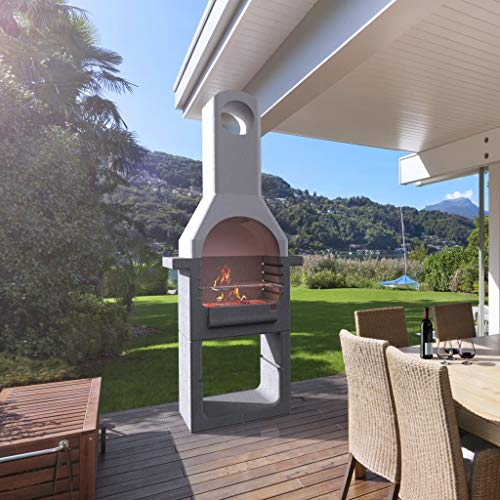 5182VEOW63L. SS500  - Tidyard Outdoor Concrete Charcoal Barbecue BBQ Stand with Chimney