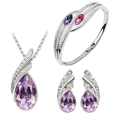 Beautiful Purple Austrian Crystal Necklace Set for Women- Combo With Crystal Earrings And Elegant Crystal Bracelet  available at amazon for Rs.475