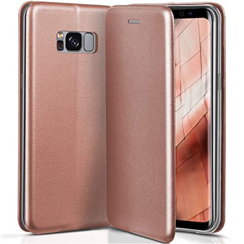ONEFLOW Samsung Galaxy S8   Hülle Rose-Gold mit Karten-Fach 360° Business Klapp-Hülle Handytasche Kunst-Leder Handyhülle für Samsung Galaxy S8 Flip Case Cover Tasche Schutzhülle