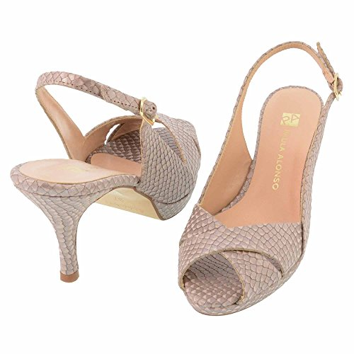 pelle sandali peep-toe in rilievo Misure: 36 Colore: BEIGE