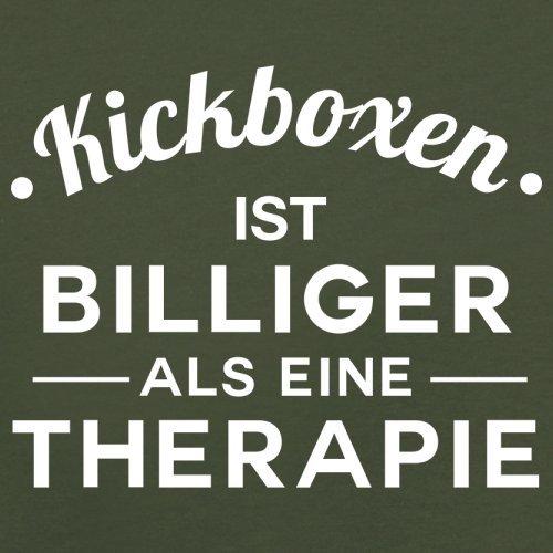 Kickboxen ist billiger als eine Therapie - Herren T-Shirt - 13 Farben Olivgrün