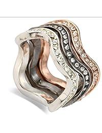 Clásico diamante tricíclico tres colores pareja en el anillo