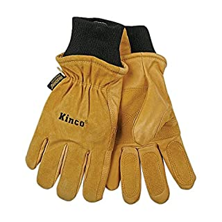 KINCO 901-L Men's Pigskin Leather Ski Glove, Heat Keep Thermal Lining, Draylon Thread, Large, Golden