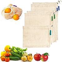 Kyerivs Wiederverwendbare Obst- und Gemüsebeutel Einkaufsnetze aus Bio-Baumwolle für Den Plastikfreien Einkauf 5er Set (2L, 2M, S)